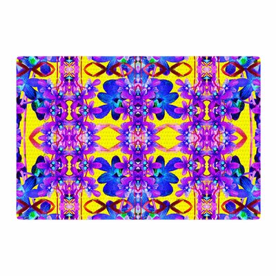 Dawid Roc Tropical Orchid Dark Floral 3 Purple/Yellow Area Rug Rug Size: 2 x 3