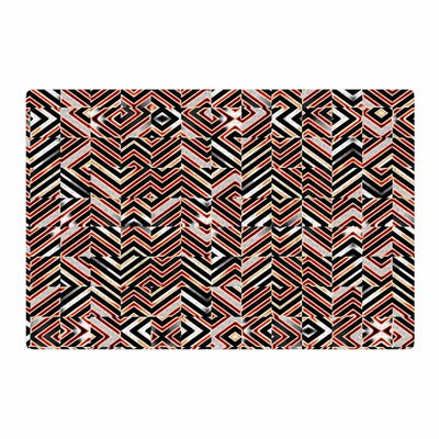 Dawis Roc Maze Geometric Abstract 1 Orange/Black Area Rug Rug Size: 4 x 6