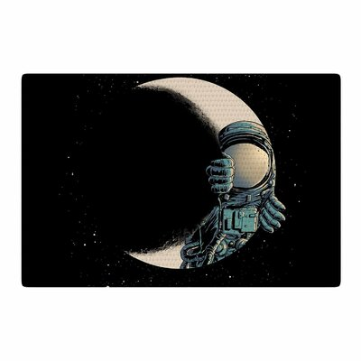 Digital Carbine Crescent Moon Illustration Black Area Rug Rug Size: 4 x 6