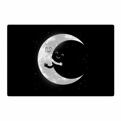 Digital Carbine Moon Hug Black/White Area Rug Rug Size: 2 x 3