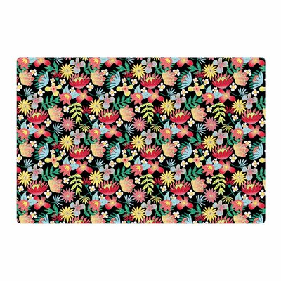 DLKG Design Flower Power Gold/Black Area Rug Rug Size: 2 x 3