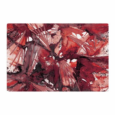 Ebi Emporium Birds of Prey Watercolor Red/Black Area Rug Rug Size: 2 x 3