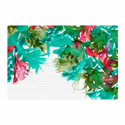 Ebi Emporium Floral Cascade 7 Teal/Red Area Rug Rug Size: 2 x 3
