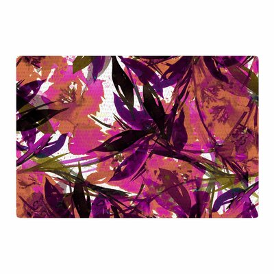 Ebi Emporium Floral Fiesta Plum Watercolor Painting Pink Area Rug Rug Size: 2 x 3
