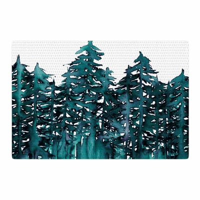 Ebi Emporium Forest Through the Trees 5 Teal/White Area Rug Rug Size: 2' x 3'