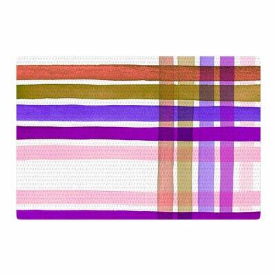 Ebi Emporium Plaid Stripes in Color 6 Pink/Purple Area Rug Rug Size: 2 x 3