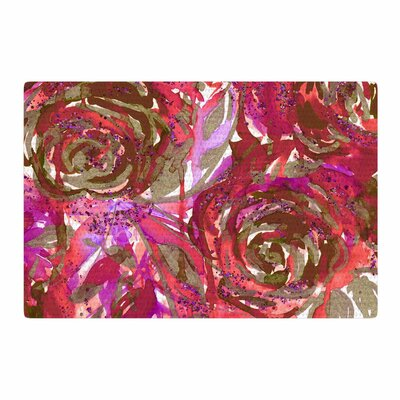 Ebi Emporium Rose Combustion Coral Floral Maroon/Red Area Rug Rug Size: 2 x 3