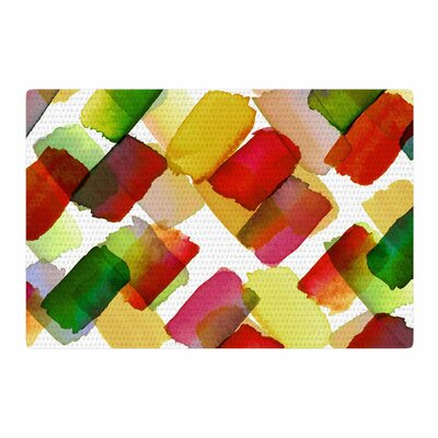 Ebi Emporium Strokes of Genius 4 Gold/White/Green Area Rug Rug Size: 2 x 3