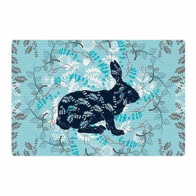 Famenxt Bunny in the Jungle Animals Blue Area Rug Rug Size: 2 x 3
