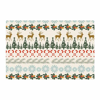 Famenxt Christmas Vibes Holiday Pattern Red/Green/White Area Rug Rug Size: 2 x 3