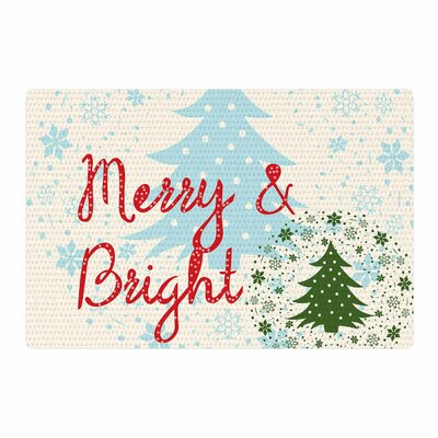 Famenxt Merry And Bright Holiday Typography Red/Green/Blue Area Rug Rug Size: 2 x 3