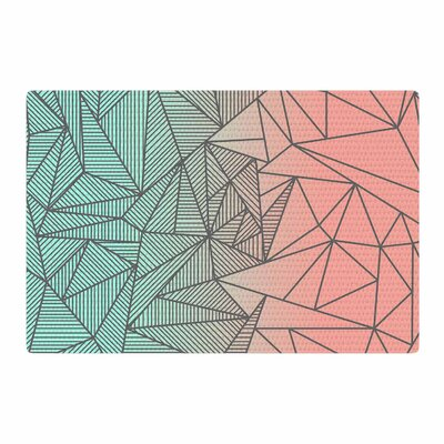 Fimbis Bodhi Rays Geometric Illustration Coral/Green Area Rug
