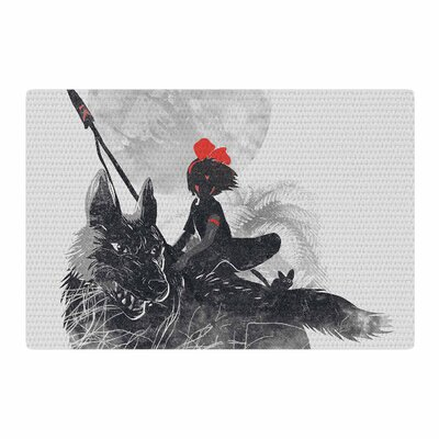 Frederic Levy-Hadida Princess Monokiki Fantasy Illustration Black/Gray Area Rug Rug Size: 2 x 3