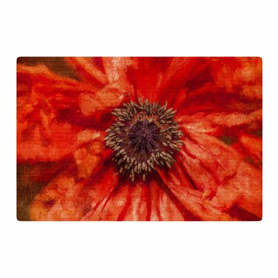 Ginkelmier Poppy Floral Orange Area Rug Rug Size: 2 x 3