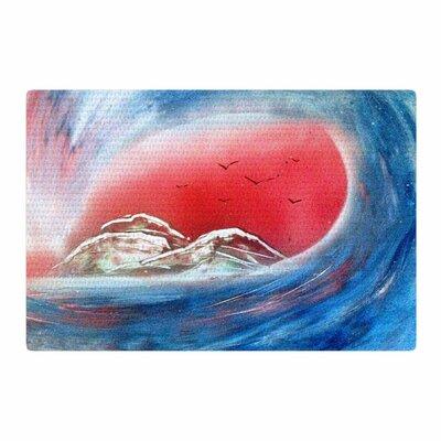 Infinite Spray Art Tubular Red/Blue Area Rug Rug Size: 2 x 3