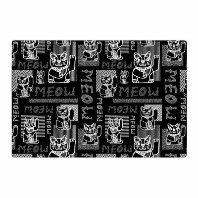 Jane Smith Meow Repeat Black/White Area Rug Rug Size: 2 x 3