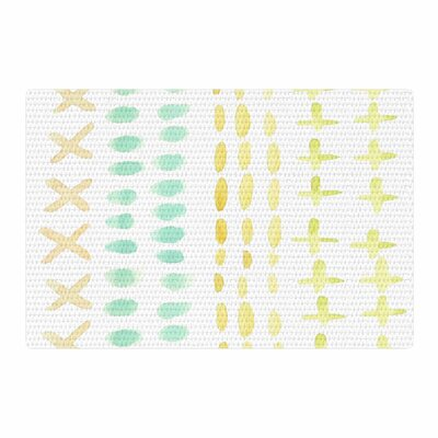 Jennifer Rizzo Dots and Dashes Teal/Yellow Area Rug Rug Size: 2 x 3