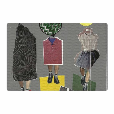 Jina Ninjjaga Fashion Pop Art Gray/Yellow Area Rug Rug Size: 2 x 3