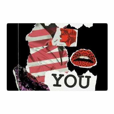 Jina Ninjjaga Poster Black/Red Area Rug Rug Size: 4 x 6