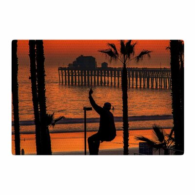Juan Paolo Endless Summer Orange/Black Area Rug Rug Size: 2 x 3