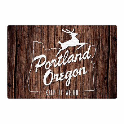Juan Paolo Keep it Weird Portland Brown Area Rug Rug Size: 4 x 6
