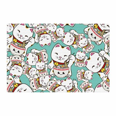 Juan Paolo Ramen Cats Teal/White Area Rug Rug Size: 2 x 3