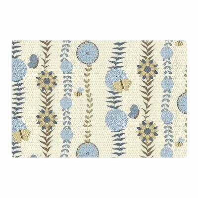 Judith Loske Flower Garden Blue/Beige Area Rug Rug Size: 4 x 6