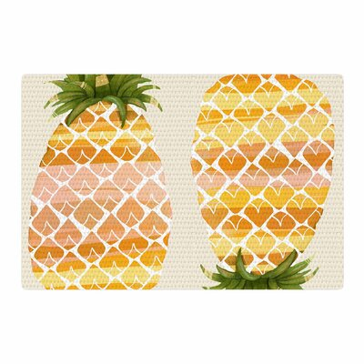 Judith Loske Happy Pineapples Yellow/Gold Area Rug Rug Size: 4 x 6