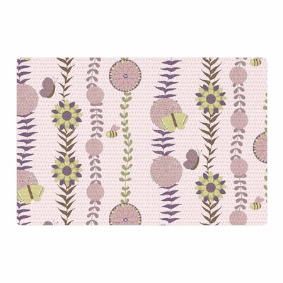 Judith Loske Flower Pattern Blush/Purple Area Rug Rug Size: 4 x 6