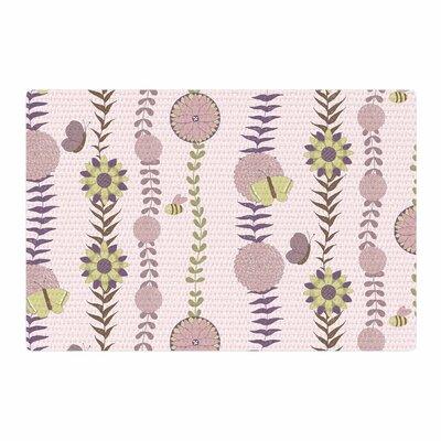 Judith Loske Flower Pattern Blush/Purple Area Rug Rug Size: 2 x 3