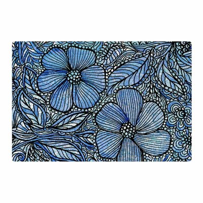 Julia Grifol Flowers in My Garden Aqua/Navy Area Rug Rug Size: 4 x 6