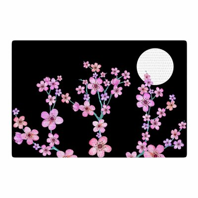 Julia Grifol Blossom At Night Pink/Black Area Rug Rug Size: 2 x 3