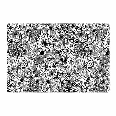 Julia Grifol Flowers Black/White Area Rug Rug Size: 4 x 6