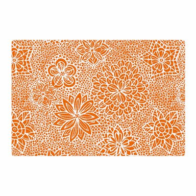 Julia Grifol Garden Flowers Floral Orange Area Rug Rug Size: 4 x 6