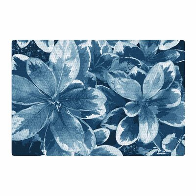 Julia Grifol Leaves Floral Blue Area Rug Rug Size: 4 x 6