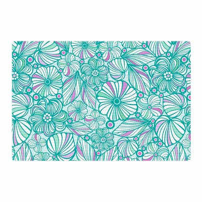 Julia Grifol My Flowers Teal/Pink Area Rug Rug Size: 2 x 3