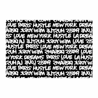 Just L Lux Writing Urban Typography Black Area Rug Rug Size: 2 x 3