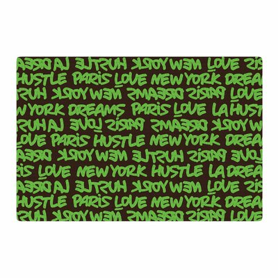 Just L Lux Writing Typography Green/Brown Area Rug Rug Size: 2 x 3