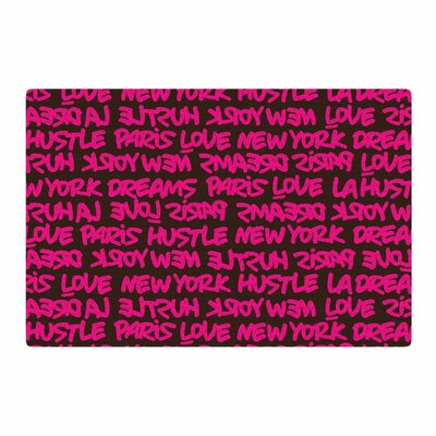 Just L Lux Writing Typography Urban Pink Area Rug Rug Size: 2 x 3