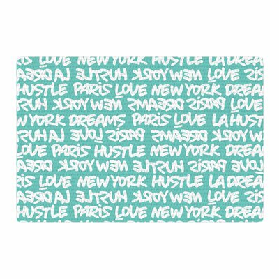 Just L Lux Writing Typography White/Teal Area Rug Rug Size: 4 x 6
