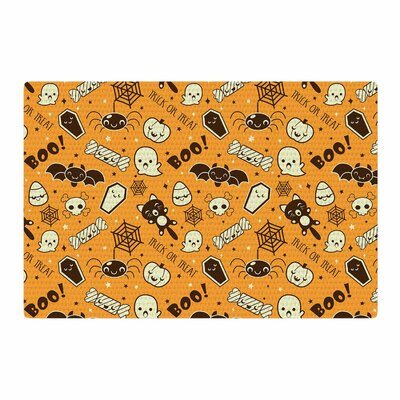 All Cute Halloween Pattern Orange Area Rug Rug Size: 4 x 6