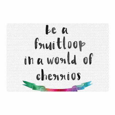 Be a Fruit Loop Watercolor Typography White Area Rug Rug Size: 2 x 3