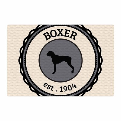 Boxer Dogs Beige Area Rug Rug Size: 4 x 6