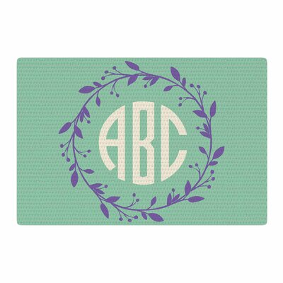 Classic Wreath Monogram Digital Lavender/Green Area Rug Rug Size: 2 x 3