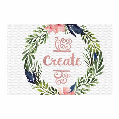 Create Typography Watercolor White Area Rug Rug Size: 2 x 3