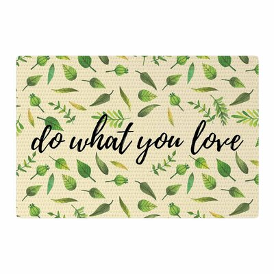 Do What You Love Green/Beige Area Rug Rug Size: 4 x 6