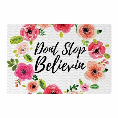 Dont Stop Believin Coral/White Area Rug Rug Size: 2 x 3