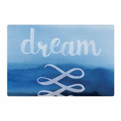 Dream Watercolor Typography Blue Area Rug Rug Size: 2 x 3