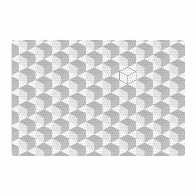 Grayscale Cubed Geometric White Area Rug Rug Size: 4 x 6