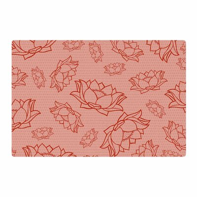 Lotus Pattern Floral Coral/Red Area Rug Rug Size: 2 x 3